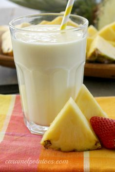 Pineapple Smoothie - 2 ingredient fast and loaded with vitamins and minerals! I replaced yogurt w/ almond milk today