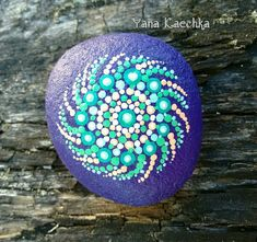 "Original hand painted mandala stone ""inspired by sea"" for home and office decor, stone art, boho, hippy decor, zen, meditation, relaxation"