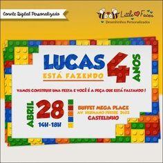 Convite Festa Lego Digital Mais