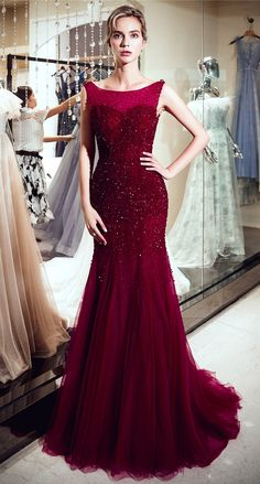 Burgundy Mermaid Evening Dresses 2018 Beaded Crystal Robe De Soiree Open Back Formal Women Abendkleider Prom Party Dinner Dress Sexy Dresses, Beautiful Dresses, Formal Dresses, Party Dresses, Mermaid Evening Dresses, Evening Gowns, Prom Gowns, Evening Party, Sequin Dress