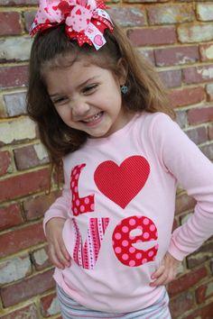 Valentine Shirt  - LOVE - pink shirt with hand cut applique - 7/8. $24.00, via Etsy.