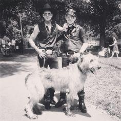 dawwwg  #mrandmrchristie #irishwolfhound #dog #midsumma #melbourne #australia #cowboy #boots #hat #biker #black #leather #studs #style #denim #sterlingsilver #rings #chains