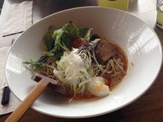 New school ramen: kara miso garlic Japanese Bowls, Happenings, Calgary, Japchae, Kara, Ramen, Garlic, Restaurant, Shit Happens