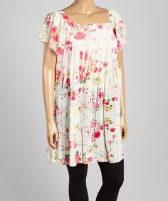 This White & Pink Floral Tunic - Plus is perfect! #zulilyfinds
