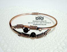 Adjustable Copper or sterling silver bracelet Black Agate