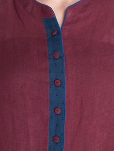 Buy Burgundy Asymmetrical Button Down Linen-Cotton Kurta Online Kurtha Designs, Chudi Neck Designs, Neckline Designs, Dress Neck Designs, Sleeve Designs, Churidar Pattern, Kurta Patterns, Dress Sewing Patterns, Churidar Designs