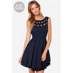 LULUS Exclusive Flirting with Danger Cutout Navy Blue Dress (83 NZD) ❤ liked on Polyvore