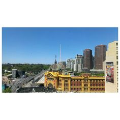The view from the window of the Bilndside Gallery.  Flinders Street Station.