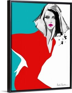 """Contemporary fashion illustration of a woman wearing a bright red dress with a teal background by Aasha Ramdeen, in a black floating frame. Find your statement-making """"red dress"""" at GreatBIGCanvas.com."""