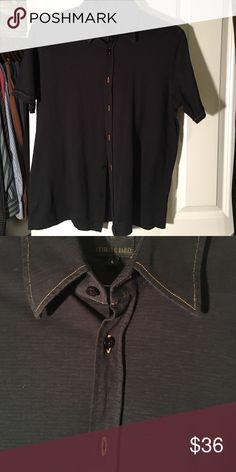 Short sleeve shirt Charles g Bailey short sleeve shirt black with orange stitch on button holes and collar slim fit worn once charles g bailey Shirts Casual Button Down Shirts