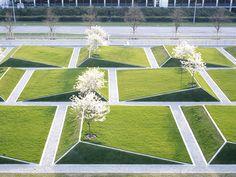 Airport Munich Terminal 2 And Parking Garage Landscape - Architektur Landscape Plaza, Landscape Stairs, Landscape Architecture Design, Garden Landscape Design, Urban Landscape, Landscape Art, Landscape Concept, Modern Landscaping, Outdoor Landscaping
