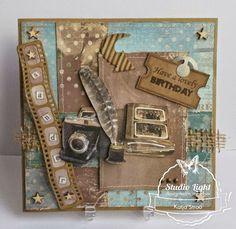 En dan ben je jarig! Masculine Birthday Cards, Masculine Cards, Birthday Verses For Cards, Steampunk Cards, Heritage Scrapbooking, Anna Griffin Cards, Man Birthday, Vintage Cards, Photo Book