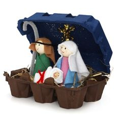 Nativity crafts made of egg carton Preschool Christmas, Christmas Nativity, Noel Christmas, Christmas Activities, Christmas Crafts For Kids, Christmas Projects, Holiday Crafts, Christmas Decorations, Christmas Ornaments
