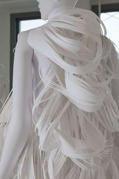 Sculptural Paper Fashion - fine 3D shredded structure; paper dress form