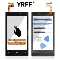 Front Digitizer Glass Display Frame Touch Screen For Nokia Lumia 525 526 Touch Panel Accessories With Sensor Flex Cable & Logo