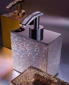 Soap dispenser covered in Crystal or Honey www.RhinestoneSupply.com