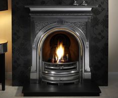 Shelf size 36″ (915mm) One size only Black, highlighted or fully polished cast iron finish Suitable for gas, solid fuel or electric fires Distributed by Gallery Fireplaces Shown: Celtic fully polished cast iron combination fireplace