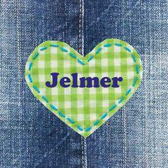 Spijkerstof geboortekaartje met ruiten hartje | jeans birthday announcement card