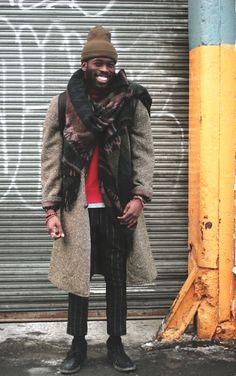 Coat desert boots men Style tumblr beanie