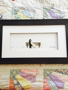 8 by 15 framed with mat and glass Wedding pebble art of Nova Scotia by sharon Nowlan