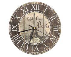 Vintage Style Eiffel Tower Clock.. Decoupage от DickeryDock