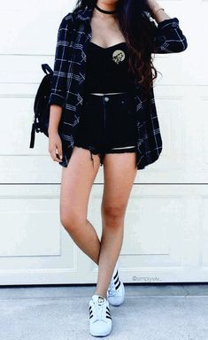 Cute Casual Outfits, Short Outfits, Spring Outfits, Flannel Outfits Summer, Black Shorts Outfit Summer, Shorts Outfits For Teens, Cute Hipster Outfits, Really Cute Outfits, Clothes For Girls