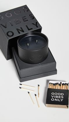 Damselfly Good Vibes Only - Deboss Candle Black Dusk Black Packaging, Candle Packaging, Cool Packaging, Candle Labels, Candle Branding, Perfume, Tequila, John Lewis, Candle Quotes