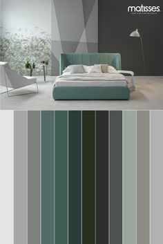 Un ambiente que combine una paleta con tonos como el verde, se caracteriza por su frescura. Modern Color Schemes, Bedroom Color Schemes, Bedroom Colors, Modern Interior Design, Interior Design Living Room, Living Room Designs, Master Bedroom Interior, Bedroom Decor, Colorful Interiors
