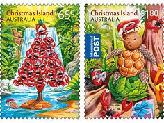 This set of stamps contains the two Christmas themed stamps from the Christmas Island 2015