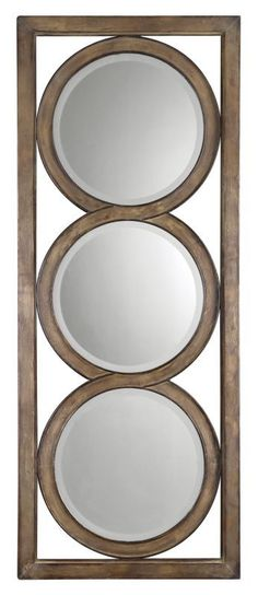 Uttermost 13533 B Isandro 71 Inch x 28 Inch Circular Beveled Metal Framed Mirror Black Wash Over Silver Leaf Home Decor Mirrors Lighting