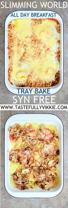 Slimming World Syn Free All Day Breakfast Tray Bake - Tastefully Vikkie astuce recette minceur girl world world recipes world snacks Slimming World Dinners, Slimming World Breakfast, Slimming World Recipes Syn Free, Slimming World Diet, Slimming Eats, Slimming World Pancakes, Syn Free Breakfast, Breakfast Tray, Best Breakfast