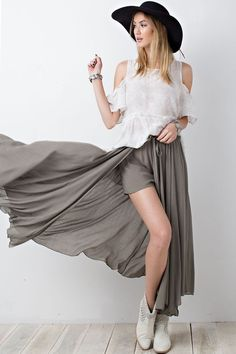 Pretty sure This will be my Fav summer outfit item!! Faded olive long skirt with elastic waist and tie, shorts attached. This with the white reversible shirt I posted last night, our vegan leather slide sandals, and accessorized with the boho jewelry that's on the way..... major #yesplease    •    •    Arrives Friday; sizes small-large available and this brand is sized generously!! {Reg $54 & up.... get it for $44 til it arrives} Trust me, you will be happy you did!!!    •    •    COMMENT…