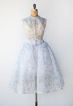 vintage 1950s sheer blue floral print dress with peplum