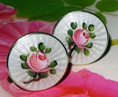Norway sterling guilloche earrings. Lovely, tiny Finn Jensen guilloche enamel Norway sterling earrings with lovely hand-painted roses on a crisp white