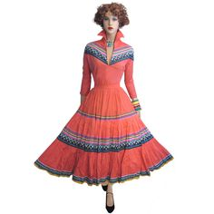 VINTAGE 50s MEXICAN SOUTH WESTERN DRESS SET M L FULL SKIRT ART PRINT SWING PARTY