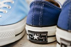 "Converse First String 1970 Chuck Taylors ""Heritage Blue"" & ""True Navy"" Black High Tops, Plain Black, Chuck Taylors, Converse Photography, All Star, Converse 70s, Strings, Chuck Taylor Sneakers, 1970s"