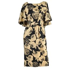 Christian Dior Rose Printed Silk Cape Dress | From a collection of rare vintage day dresses at http://www.1stdibs.com/fashion/clothing/day-dresses/