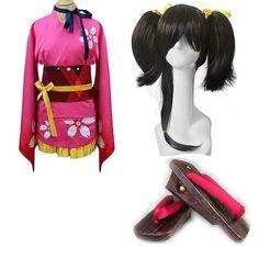 Relaxcos Koutetsujou no Kabaneri Mumei Kimono Wig Shoe Dress Cosplay Costume *** Click image to review more details.