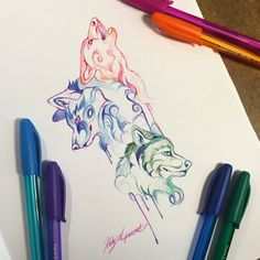 282- Pen Wolf Trio Day 12 or Inktober For those who were wondering, these are inkjoy pens. You can get them at Target.