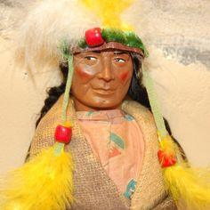 Beautiful vintage Skookum doll Indian chief doll luckystargallery.com $325