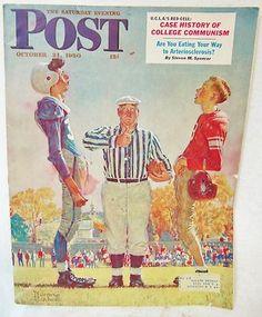 Saturday Evening Post October 21 1950 Coin Toss Norman Rockwell UCLA Communism | eBay