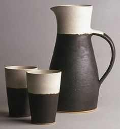 Tumblers and pitcher, made by Lucie Rie