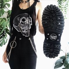 pic by (ig) All Black, Black And White, Vegan Boots, Alternative Girls, Rock, Grunge Outfits, Platform Shoes, Combat Boots, Cap