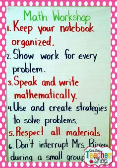 Anchor Chart for Math Workshop. Shows all the rules and expectations!