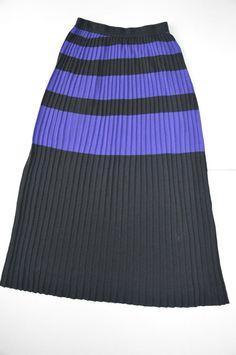 KENZO pleated stripped skirt Size S 100% Cotton Black Purple