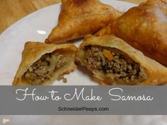 Kenyan samosas are one of those fun cultural foods that people just use what they have so there are many variations. These freeze well and my children love them. My Kenyan friend showed me a shortcut to making my own pastry which is a huge time savor. Indian Food Recipes, Beef Recipes, Real Food Recipes, Cooking Recipes, Healthy Recipes, Ethnic Recipes, Snack Recipes, Kenyan Recipes, African Recipes