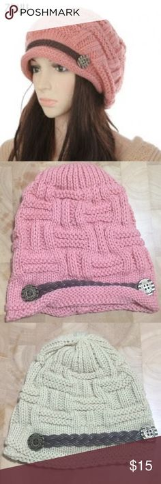 Crochet stylish beanie hat with front accent belt Stay stylish and warm beanie  Beige fits a little bit smaller than pink  •Stock picture seems to be a little bigger than actual pieces. I will take more pics this weekend Accessories Hats