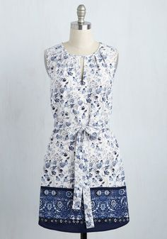 So Two Ways About It Dress - Blue, White, Floral, Print, Casual, Sundress, A-line, Sleeveless, Summer, Knit, Better, Mid-length, Americana