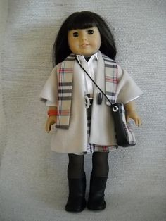 100% hand made outfit that fits American Girl Doll.  OUTFIT WITH CAPE- 10pc     - soft cape;     - collared blouse;     - buckled belt;     -