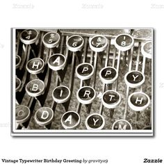 Send birthday greetings to the 'OLD TIMER' with this Vintage #Typewriter Birthday Greeting Postcard by #Gravityx9 at #Zazzle